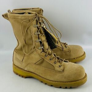 Mens 12.5R Addison Army Military Combat Boots Tan Suede Gore-Tex Steel Toe