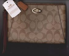 Coach Large Signature Khaki iPhone Universal Clutch Purse Wallet