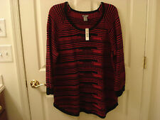 NWT New Directions Weekend SZ 2X RED/BLK Scoop Neck Tunic Style Sweater Lg.Sl.