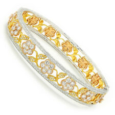 Diamond Flower Bangle Bracelet 18K Tri-Color Gold 4.65ctw by Supreme