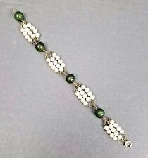 Vtg. 14K Jade & Pearl Bracelet~Yellow Gold with 4 Jade Beads & 48 Akoya Pearls
