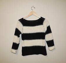 Women's Sanctuary Black and Cream Striped Sweater Size XS
