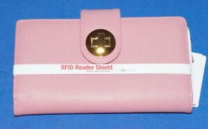 BUXTON BIG Fat Clutch Wallet RFID Credit Card ID Photo Organizer Pink Blush NWT