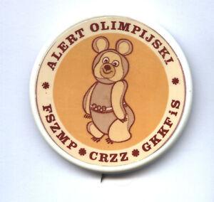 RARE Polish Misha plastic pin with mascot Olympic Games Moscow 1980 POLAND