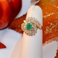 14K Yellow Gold 0.62 Ct Ladies Natural Emerald and 1.21 Cts TW Diamond Ring SZ6