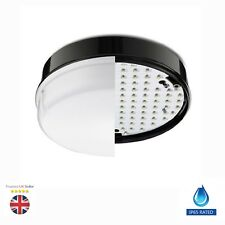 LED 12w Outdoor / Indoor Round Bulkhead Wall Ceiling Light Black Ip65 Waterproof