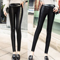 Women PU Leather Fleece Lined Winter Thick Warm Stretchy Leggings Pants Trousers