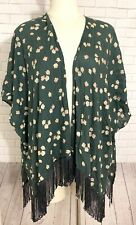 Hollister Boho Festival Kimono Cardigan Green Pink Floral Fringe Hem Woman OS