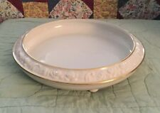 Vintage Dresden White Footed Floral Rim Serving Bowl With Gold Trim