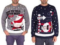 Mens Unisex Christmas Jumper Sweater Chimney Santa Novelty Pullover