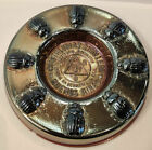 NICE LATE 1930'S BLUE CARNIVAL GLASS RIGOLLEAU ADVERTISING ASHTRAY 5''