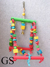 LARGE BIRD TOY GIANT SWING, ROPE AND COLOURFUL WOOD,FOR CAGE,