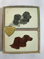 Colortone Vtg. Pinochle Playing Card 2 Complete Decks Setters/Spaniels