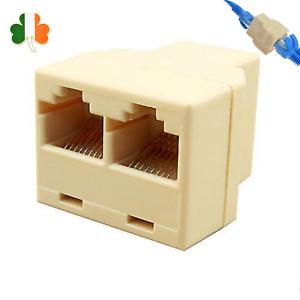 2in1 RJ45 Ethernet LAN Network Y-Splitter 2 Way Adapter 3Ports Coupler Connector