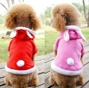 SO SOFT FLEECE DOG PUPPY PINK / CHRISTMAS RED RABBIT BUNNY PYJAMAS JUMPER HOODIE