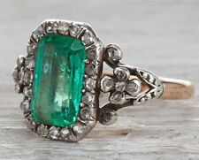 2.20cts ROSE CUT DIAMOND EMERALD ANTIQUE VICTORIAN LOOK SILVER COCKTAIL RING