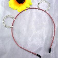 1Pc Pink Girls Rhinestone Bear Ears Headband Hair Band Costume Accessories