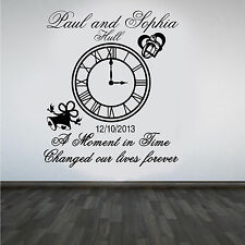 Personalised Wedding Clock Anniversary Keep Sake Wall Art Sticker/Decal#3