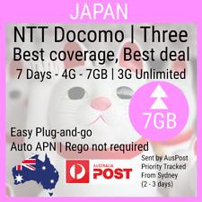 Japan 7 days Travel Data Sim card 4G - 7GB, 3G Unlimited   NTT Docomo   Three