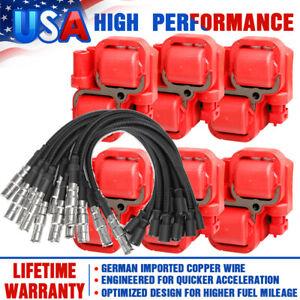 6Packs UF359 Ignition Spark Coils W/Plug Wire Sets For Mercedes-Benz C CL CLK ML