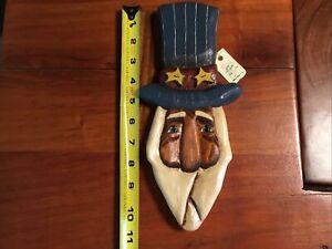 Uncle Sam Wall Carved Wood Primitive Folk Art Patriotic