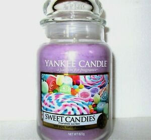 """Yankee Candle """"SWEET CANDIES""""~Easter European ~ Large 22 oz.~ WHITE LABEL~NEW"""