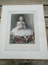 Gravure anglaise ancienne (XIXè) coloriée à la main fillette