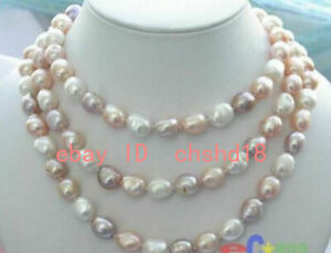 """NEW long 45 """"8-9mm baroque multicolor freshwater pearl necklace AAA"""
