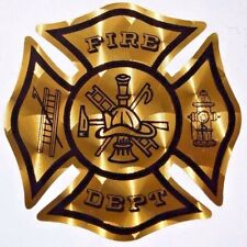 Gold Metallic Engine Turn Fire Department Maltese Cross Decal  3 inch