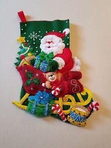 "Beautiful Completely Handmade 18-In Christmas Stocking ""Santa's Sleigh"" Bucilla"