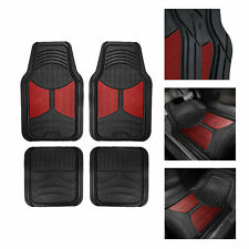 2 Tone Black Burgundy Floor Mats for Car SUV All Weather Universal Fitment