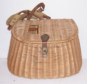 Antique Wicker Fishing Basket Creel from Old Maine Cabin Camp Nice Shape Solid