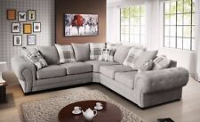 Parker Corner Sofa Chesterfield Fabric Silver Scatter Cushion