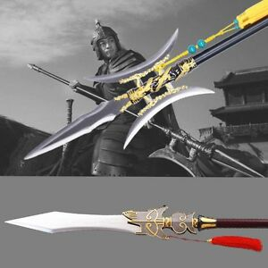"""76"""" Chasing ghost sword Single double halberd Rotten silver gun spear lance #014"""