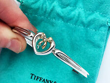Tiffany & Co Sterling Silver 18Ct 18K Gold Heart Bow Ribbon Cuff Bracelet