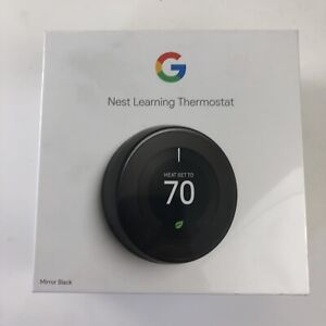 Google Nest Learning Thermostat 3rd Gen (Mirror Black) T3018US BRAND NEW SEALED