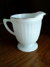 "Vintage White Milk Glass Pedestal Base Creamer 3-1/2"" with Gold Rim"