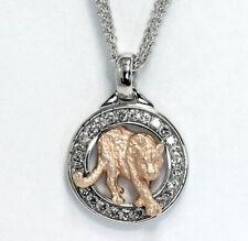 New Effy diamond panther circle pendant necklace 14K rose white round brill .30C