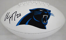 CHRISTIAN MCCAFFREY AUTOGRAPHED WHITE LOGO FOOTBALL PANTHERS BECKETT 176023