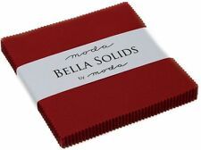 """Country Red Moda Bella Solids Charm Pack 42 5"""" Precut Cotton Quilt Squares"""