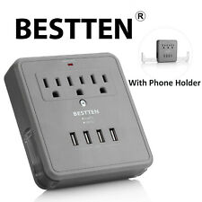 Bestten 4 Usb 3-Outlet Wall Mount Tap Adapter Surge Protector Etl Gray