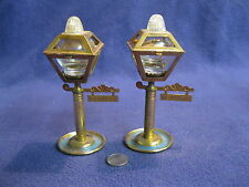 Vintage Brass Plated Glass Street Light Sign Salt and Pepper Shaker           71