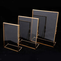 Antique Gold Metal Glass Photo Picture Frame Home Office Decor Freestanding