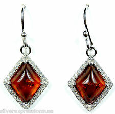 Genuine Baltic Amber & White Topaz Solid 925 Sterling Silver Dangle Earrings