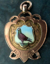 9ct Rose Gold & Enamel Pigeon Fob Medal / Pendant  1931 Chester - not engraved