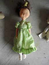 """Vintage 1974 Plastic Brown Hair Holly Hobbie Character Girl Doll 10"""" Tall"""