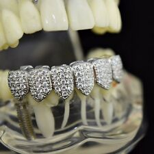 CZ Bottom Grillz Silver Tone Cubic Zirconia Micro Pave New Lower Iced-Out Teeth