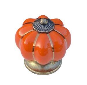 Bright Orange Ceramic Cabinet Door Knobs. Drawer Pulls. Vintage Pumpkin Style.