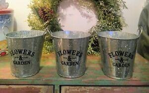 Lot of 3 Farmhouse Galvanized Flowers & Garden Rustic Country Home Decor Planter