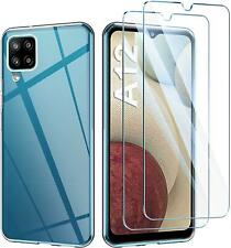 For Samsung Galaxy M12 Slim Case Clear Transparent Phone Cover +1 X Screen Glass